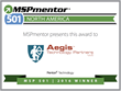 Aegis Technology Partners Ranked Among Top 501 Managed Service Providers by Penton Technology's MSPmentor