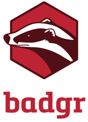Logo for Badgr, a product of Concentric Sky: image is a black and white drawing of a badger's head on a red hexagonal background with a black outline.