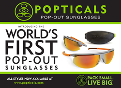 Popticals are high-performance sports sunglasses that extend from a portable size.
