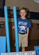 Caden Yocom during school assembly where the Big Blue Blocks were unveiled