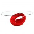 Contemporary High Glossy Red Oval Glass Cocktail Coffee Table