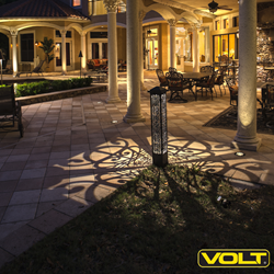 One of VOLT Lighting's new Scroll Tower LED Bollard Light - projects music-inspired patterns of light and shadow.
