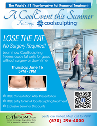 Free CoolSculpting Seminar on June 16 at MilfordMD Cosmetic Dermatology Surgery & Laser Center