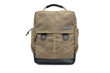 Bolt Backpack—tan waxed canvas and black leather