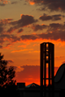 Husson University's bell tower is at the center of campus.
