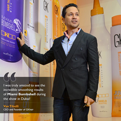 Van Tibolli CEO and Founder in Dubai at the Beauty World event launching new GKhair products.