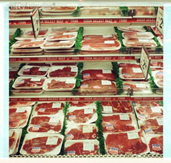 Meat case in a grocery store