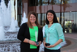 Socious event planners Cathy Clifton and Erica Allen with their AZMPI awards.