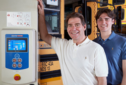 "JP"" Miles (left) and son Jake (right) operate a fourth generation family-owned business, J&J Miles in Freeport, NY, focusing on school bus inspections & servicing, truck repair, commercial tire sales"