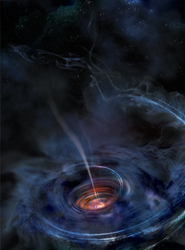 A thick accretion disk near a supermassive black hole after the tidal disruption of a star. X-rays echo within the disk's walls, allowing astronomers to map the disk's structure. (NASA/Swift/Aurore Simonnet, Sonoma State U.)