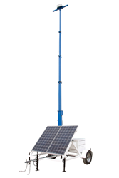 Solar Powered Light Tower with 30' Manual Crank Up Mast