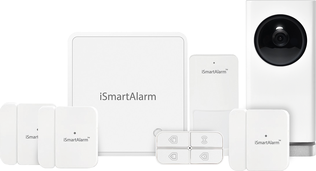 Ismartalarm smart home security system and camera now for Best buy burglar alarms