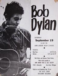 Original 1964 Bob Dylan Ann Arbor High School Concert Poster