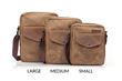 Bolt Crossbody bag—large, medium, small in waxed canvas with grizzly leather