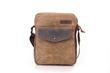 Bolt Crossbody bag—tan waxed canvas with chocolate leather