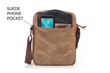 Bolt Crossbody bag—front pocket with interior Ultraseude phone pocket