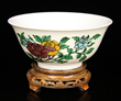 Chinese Famille Verte Biscuit Enameled Incised Bowl