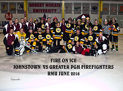 Greater Pittsburgh firefighters and Johnstown, PA, firefighters at the first annual Steel City Fire on Ice charity hockey game