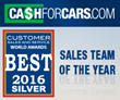 CashForCars.com Honored as Winner in the 2016 Customer Sales and Service World Awards® Sales Team of the Year