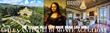 The Mona Lisa, flanked by images of the villa Antinori di Monte Aguglioni