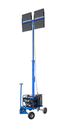 LED Light Tower Equipped with Four 500 Watt Light Fixtures