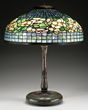 TIFFANY STUDIOS BELTED DOGWOOD TABLE LAMP REALIZED $59,250.