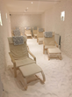Interior of adult cave with relaxing loungers