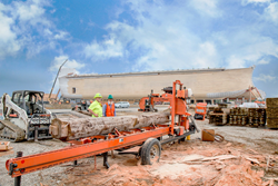 A Wood-Mizer portable sawmill onsite for additional construction needs for the Ark Encounter.