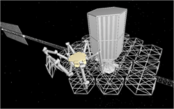 Fig. 3: Conceptual CAD rendering of an assembly robot deploying a truss module. doi:10.1117/1.JATIS.2.4.041207 ©