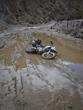 Johnson's motorcycle down in mud on Carretera Uyuni Tupiza