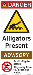 'Alligators Present' Safety Sign from Clarion Safety Systems