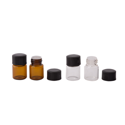 2ml Amber or Clear Glass Bottles with Orifice Reducers and Black Caps (16mm*23mm)