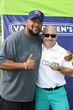 Gilbert Brown with Eric Girard, Vice President of Sales for Van Holten's Pickle-In-A-Pouch