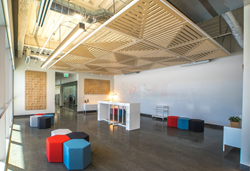 Thoughtful furniture throughout the building allows for both large and small standing or seated impromptu meetings