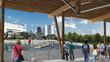 The Civitas/W design for Tampa's Riverfront Park includes a calm-water cove for beginning boaters, shown here from the boathouse's wraparound deck (courtesy of W Architecture).