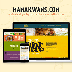 Outer Banks restaurant website design for Mama Kwan's Tiki Bar and Grill