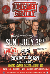 Montgomery Gentry to play LIVE at Cowboy Coast Saloon in Ocean City, MD July 31st