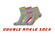 The Double Ankle Socks have the thickness of two socks laid over each other.