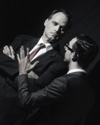 Russ Widdall as Bobby Kennedy and Joshua Tewell as Richard Goodwin in ROSEBURG at New City Stage Company, July 2016. Photo: Alex Lowy