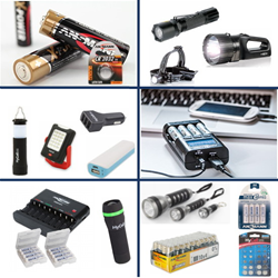 hardware store products - flashlights, batteries, coin cells, smartphone accessories