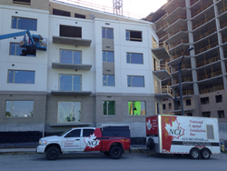 Spray foam insulation used on commercial building