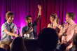 The Indoor Kids live at LA Podfest 2015. L-to-R: Guest Thomas Middleditch, Hosts Kumail Nanjiani & Emily V. Gordon, and guest Jared Logan. Photo credit: Liezl Estipona.