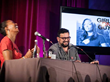Girl on Guy live at LA Podfest 2015. L-to-R: Host Aisha Tyler with guest Horatio Sanz. Photo credit: Liezl Estipona.