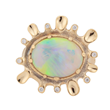 Dawn. 4.63ct White Opal, 18K  yellow gold and white diamond ring by Audrius Krulis