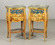 - Pair of unusual French tables, having elaborate marquetry inlaid tops, drawers and shelves