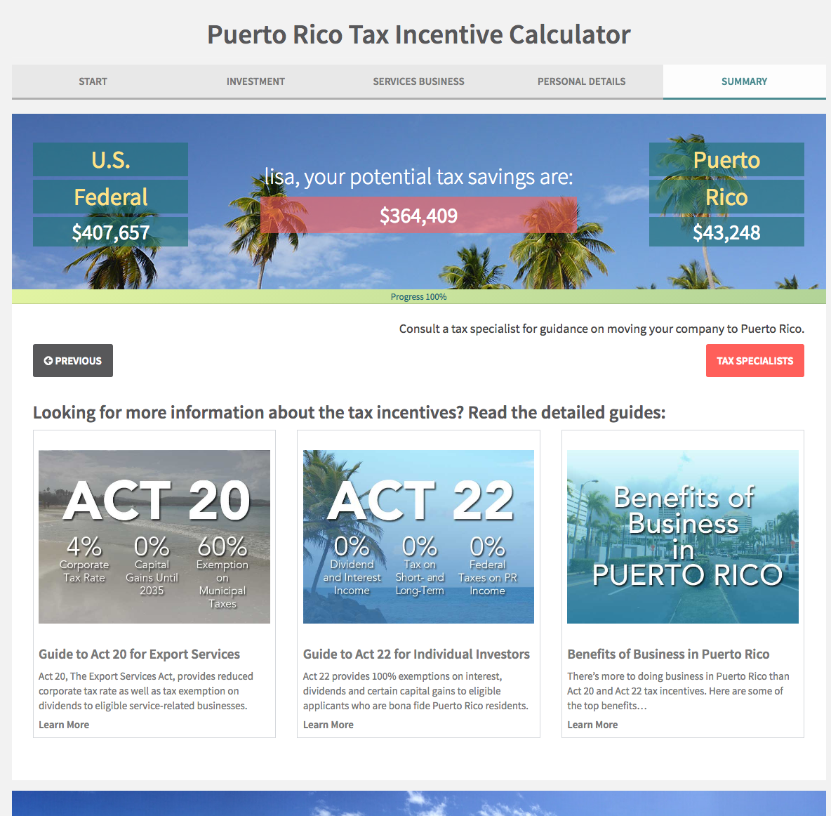 New Puerto Rico Act 20 & 22 Tax Incentive Calculator for