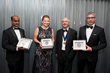2016 Charles Hatchett Award Winners receiving their medals from IOM3. Pictured from left: Hari-Babu Nadendla, Magdalena Nowak, IOM3 President Mike Hicks, and Leandro Bolzoni.