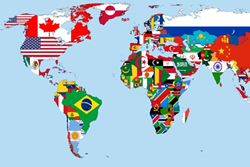 World map of national flags