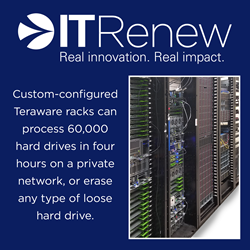 Teraware racks can be custom-configured to optimize data sanitization based on the type and volume of assets. They can connect to a private network to erase entire data center racks at a time, processing 60,000 hard drives in four hours, or configured for