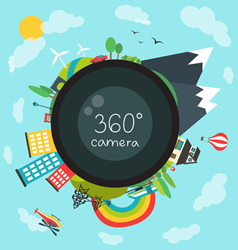 Illustration of Globe in 360 Degree View